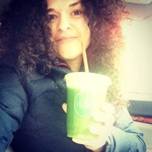 Dr. Brighten getting a little detox love post workout with a delicious green juice.
