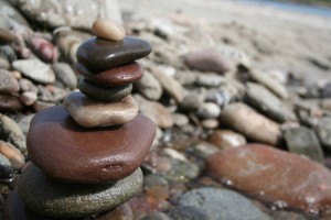 balancing rocks water